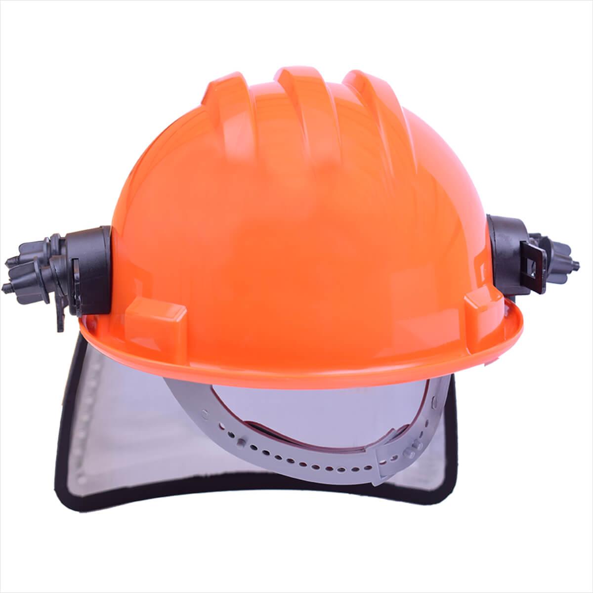 e628e4753ed46 Capacete De Segurança Laranja Com Protetor Facial Telado Ledan